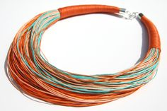 Naszyjnik sznurkowy orange - Ekoart - Naszyjniki średnie