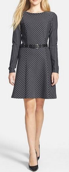 Love this belted pinstripe fit & flare dress from Michael Kors - 40% off!   @nordstrom http://rstyle.me/n/rcgbvnyg6