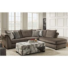 "Cornell Pewter Gray Nailhead Sectional by Albany Furniture Sit in style with the ""Cornell"" Pewter Sectional. Sofa Couch, Couch Set, New Living Room, Living Room Furniture, Sectional Furniture, Sectional Sofas, Furniture Stores, Old Tables, Love Your Home"