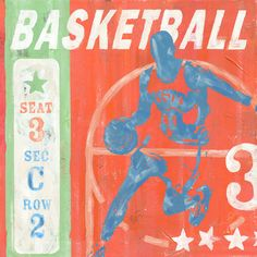 Game Ticket Basketball by Roger Groth Vintage Advertisement on Wrapped Canvas