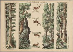 Paper theater in color, depicting 4 scenes and 4 set pieces with a forest and deer