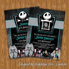 Nightmare Before Christmas Birthday Invitations for boys or girls