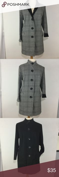 """➕ Reversible Plaid & Black Long Jacket Reversible Plaid and Black Long Button Down Jacket - Simply clip tag and the jacket can be worn on both sides  Size: 20W Color: All Black (side 1) Black White & Periwinkle / Grey Plaid Print (side 2) Brand: JM Collection Style: Button Down Jacket Material: 63% Polyester 34% Rayon 3% Spandex (outside) 97% Cotton 3% Spandex Condition: Small flaw in the fabric see last pic; location - near side seam  Measurements in Inches-Laid Flat Chest: 27"""" Waist: 26""""…"""