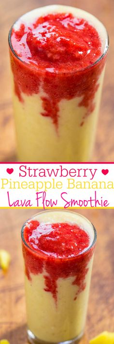 Strawberry Pineapple Banana Lava Flow Smoothie – Refreshing, fast, easy, with no added sugar, and tastes great! (Bonus: Looks super cool!) Keep your guests refreshed with this! Strawberry Pineapple Banana L Yummy Smoothies, Smoothie Drinks, Vegetarian Smoothies, Detox Drinks, Refreshing Drinks, Summer Drinks, Healthy Drinks, Healthy Snacks, Frozen Drinks