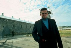 Johnny Cash photographed at Folsom State Prison in Folsom, California in 1968.
