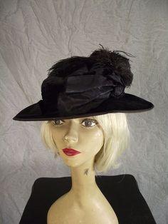 Antique Bell Epoque Edwardian Black velvet Hat Silk Bows Ostrich Feathers | eBay