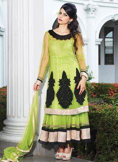 Light Green Appliques Enhanced Net Anarkali Suit
