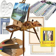 Art Set with HARDWOOD French Easel Paints Stretched Canvases Brush Sets Drawing Supplies and More *** Check out the image by visiting the link.
