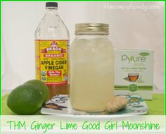 Trim Healthy Mama Ginger Lime Good Girl Moonshine - not really alchol lol but good for you drink Yummy Drinks, Healthy Drinks, Healthy Snacks, Healthy Eating, Healthy Juices, Dessert Drinks, Bar Drinks, Healthy Dishes, Healthy Smoothies
