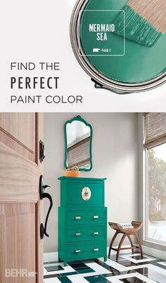 Updating your antique chest of drawers? Using a bold paint color like Mermaid Sea and gold pull handles can instantly modernize any piece of furniture. This turquoise paint color looks great against neutral walls for a fun pop of color. #TrueToHue: