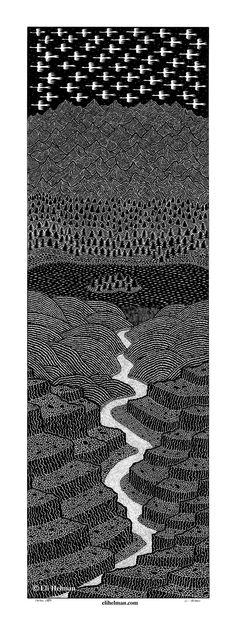 Canyon Creek, 22x7, black pen on paper