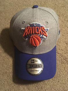 Mens New Era New York Knicks Gray Hat Blue Brim Cap Velcro Back Adjustable  New   cb727b802eb9