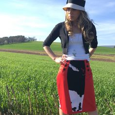 Dress yourself in this red 1940's inspired style pencil skirt. This boho skirt is flattering especially paired with a simple white top.  Follow us on Facebook www.facebook.com/AmyandAnnaDesign