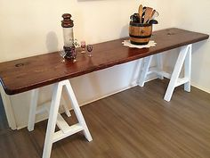 Vintage Industrial Shabby Chic Trestle Table Desk Display Table