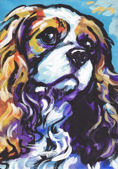 blenheim Cavalier King Charles Spaniel art print modern Dog art pop art bright colors 8.5x11., via Etsy.