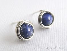 Lapis stud earrings - sterling silver tiny lapis lazuli wire wrapped ear posts