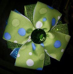 Lime Green and blue glittery hairbow