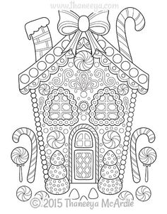 Gingerbread House Coloring Pages Adult and Childrens Coloring