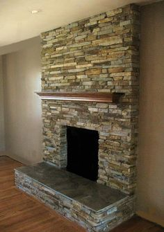 California Gold Stacked Stone Fireplace By Jamie At Rockthefireplace