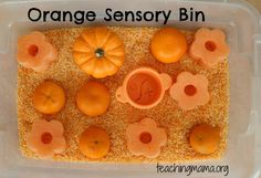 Toddler Tuesday: Orange Sensory Bin. Repinned by @Progressus Therapy. Follow our boards for more tips, activities, and inspiration.