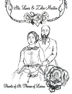 Free printable coloring page of Sts. Louis & Zelie Martin Coloring Page
