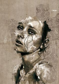 Florian Nicolle    i like the newspaper collage background it really outlines the piece well also the ink dripping creates a really effective mood.
