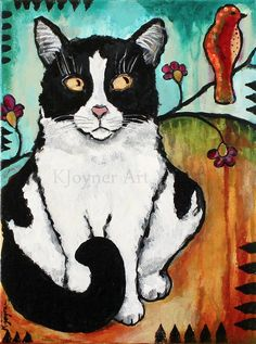 Tuxedo Cat Kitty Painting Art by Kendra Joyner