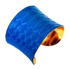 Bright Blue Snakeskin Gold Lined Cuff Bracelet by by UNEARTHED