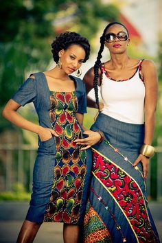 love the denim with kitenge esp maxi skirt