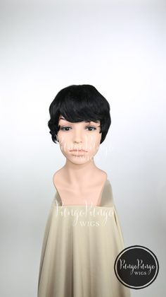 Black Short Straight 100% Human Hair Wig HFTIA1