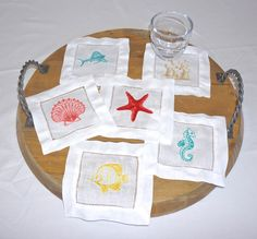 Coasters by The Beach, embroidered coasters, cocktail napkins, linen coasters, special occasion and wedding cocktail napkins by DonovanDesignLinens on Etsy