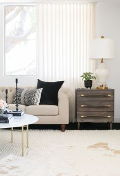 Actress Shay Mitchell and Decorist Elite Designer Stefani Stein chose The Shade Store's Ripple Fold Drapery in Linen Blend for Shay's chic office makeover. Drapery, Curtains, Custom Drapes, Office Makeover, Window Treatments, Shay Mitchell, Chic, Design, Home Decor