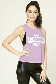 "A sleeveless slub knit tank featuring a ""Not Tomorrow Today"" graphic on front, dropped raw-cut armholes, and a boxy silhouette. Shirt Print Design, Best Tank Tops, Knitted Tank Top, Fashion Line, Academia, Fitness Fashion, Cool T Shirts, Athletic Tank Tops, Athletic Wear"
