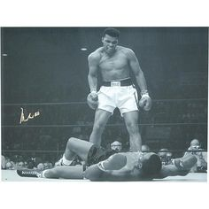 """Steiner Sports Muhammad Ali Signed Black and White Photo Standing Over Sonny Liston - 20"""" x 24"""""""