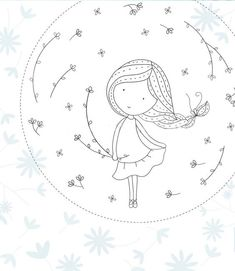 28 ideas for embroidery girl drawings Hand Embroidery Patterns, Ribbon Embroidery, Cross Stitch Embroidery, Cross Stitch Patterns, Embroidery Designs, Broderie Simple, Easy Drawings, Girl Drawings, Doodle Art