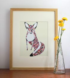 Fox Print Art 8x10 Print Giclee Illustration Fox Art by Gingiber, $23.00