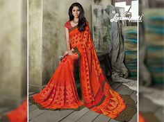 Glam up your wardrobe with this lively orange saree that will make you look like a gorgeous diva. Laxmipati Sarees, Lehenga Saree, Georgette Sarees, Fancy Sarees, Party Wear Sarees, Saree Collection, Bridal Collection, Orange Saree, Occasion Wear
