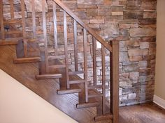 Decorations:Traditional Wood Staircase Ideas With Varnished Finish Also Exposed Brick Stone Wall How to Build Wood Stairs Design to Make Elegant Decorations Wooden Staircase Railing, Interior Stair Railing, Stair Railing Design, Stair Handrail, Railing Ideas, Banisters, Craftsman Staircase, Hand Railing, Iron Balusters
