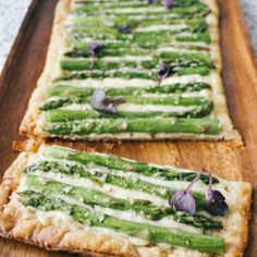 It just takes three ingredients, asparagus, puff pastry and cheese, to make this very pretty (and easy!) tart.