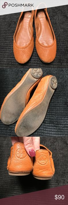 Tory Burch Flats camel  color I bought a new pair so these need a new home. These have been worn they are in good condition. Size 8 m.  No trades. Tory Burch Shoes Flats & Loafers