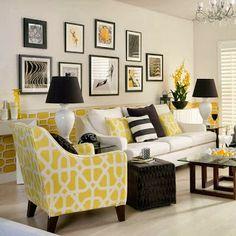 decoración sala negro amarillo