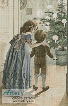 Artecy Cross Stitch. Victorian Christmas 2 Cross Stitch Pattern to print online.