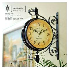 Homello Wrought Iron Vintage-inspired Rotatable Double Sided Wall Clock - Double Faced Train Station Style Round Chandelier Wall Hanging Metal Clock Home Décor Wall Clock Art Clock 360 Degree Rotation Clock Vintage, Antique Clocks, Vintage Metal, Style Vintage, Vintage Fashion, Vintage Inspired, Traditional Clocks, Deux Faces, Hanging Clock