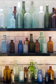 ~ Bottle Collection ~My Great Aunt use to have a glass shelf in her Kitchen window and she placed several colored bottles there. I had a elderly neighbor as a child that said the bottles you root things in should always be colored bottles, she believed the darker tints were more cohesive of an atmosphere to root in. I always root in antique colored glass bottles.