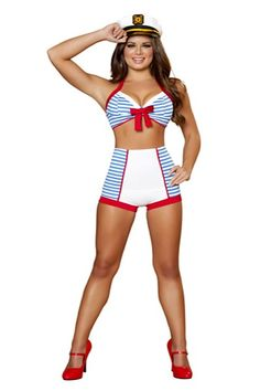 3 PC Playful Pinup Sailor Costume includes, Top with Bow Detail, High-Waisted Shorts, and Hat. MADE IN USA! PLEASE NOTE: Due to the popularity of this item it may take an additional 4 days for processing of this item. 2 Day shipping will not expedite this only the shipping time. For more information please see our Store Policy.
