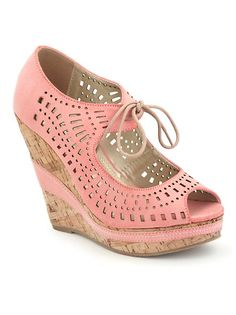 YES, please!!!  Perforated Lace Up Platform Wedge Sandal: Dots.com