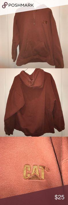 Cat Sweatshirt burnt orange ish colored CAT sweatshirt. Men's sweatshirt, but can be worn by anyone!  Super cute!  XL but fits like a medium. Caterpillar Tops Sweatshirts & Hoodies