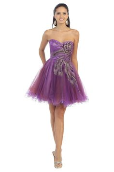 An elegant beautiful short dress features a hand beaded sequin embroideries and mesh material. Perfect for homecoming or any special occasion. All Sale Items are Final Sale Fabric : Tulle Side Zipper