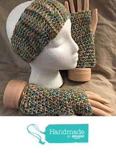 Crochet headband / ear warmer & texting/fingerless glove set - fits most teens & adults - Mixed greens & beige - smoke free - pet free - free shipping to USA from PMSCRAFTS https://www.amazon.com/dp/B01KYG70XE/ref=hnd_sw_r_pi_dp_wadaybJJ0X8MB #handmadeatamazon