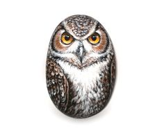 Rock Painted Owl by Lefteris Kanetis on Etsy